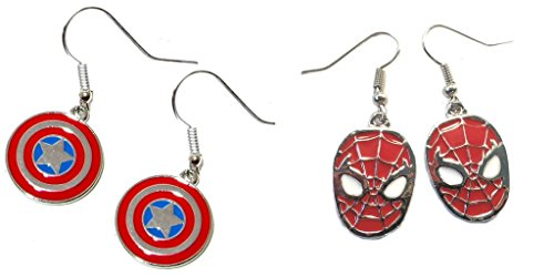 Pair Halloween Costumes For Teenage Girls (Captain America Shield and Spiderman Mask Dangle Earrings w/Gift Box)