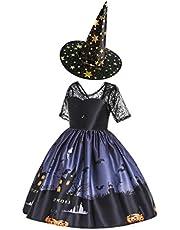 Generic Halloween Barn Princess Dress Cosplay Party Outfits Elegant Utsökt Cosplay Klänning Med Häx Hatt Kostym Tecknade Skriv Ut Skirt Häxa Maskerad Outfit Utrustning