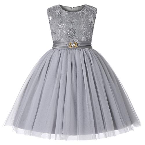 ❤️ Mealeaf ❤️ Floral Baby Girl Princess Bridesmaid Pageant Gown Birthday Party Wedding Dress(Gray,100/3)]()