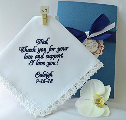 Wedding Handkerchief Gift for Dad from the Bride Embroidered Navy wedding hankerchief hanky hankie Personalized Custom Handmade Wedding keepsake Wedding favors Wedding gift parents ()