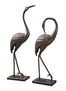 Par de Graceful de aluminio jardín estatuas de la grúa