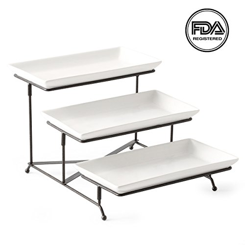 3 Tier Serving Platter Collapsible Sturdier Rack with 3 Porcelain Serving Platters/Trays Three Tier Serving Platter for Fruit Dessert Presentation Party Display (Catering Serving Platters)