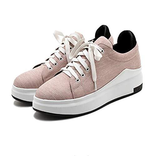 Dedo ZHZNVX Zapatillas Negro Pink Zapatos Gris Deporte de Mujer Confort pie Cerrado de Rosa Verano Primavera del Creepers Lienzo Cfq7CwB