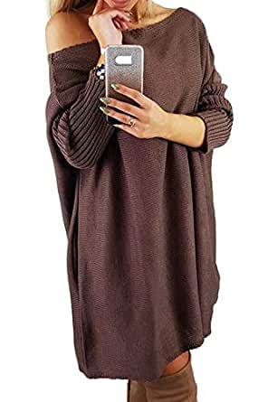 CILKOO Women Sweaters Winter Oversized Comfy Off Shoulder Sweater Dresses Ribbed Cable Knit Long Tunic Pullover Sweaters for Women Brown US 12 14