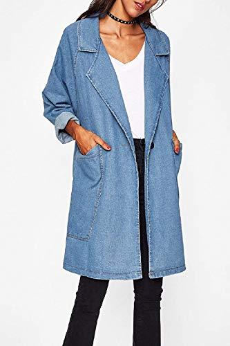 Donna Libero Eleganti Donne Fashion Classiche Lunga Jeans Outwear Giacche Con Blau Tendenza Giacca Blu Lunghe Fidanzato Tempo Autunno Tasche Relaxed Cappotto Maniche ZvqrZ7R
