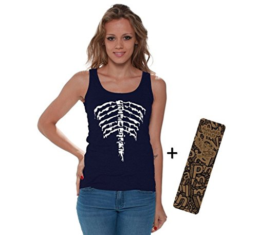 Awkwardstyles Womens Halloween Tank Top Back Ribcage Skeleton Costume + Bookmark 2XL Navy