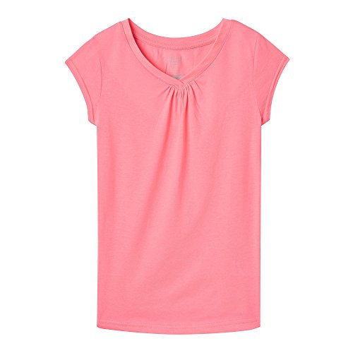 French Toast Girls' Little' Short Sleeve V-Neck T-Shirt Tee, Pink Pizzazz, 4]()
