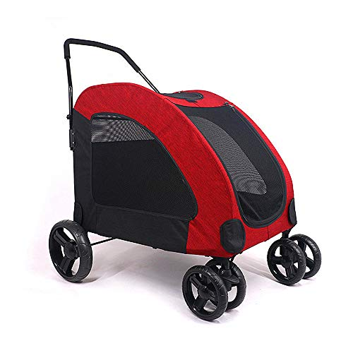Gplveoq Pet Stroller, Foldable, with Back Pocket, Fixed Shackle, Large and Small Dogs, Large Space, Pet Trolley,Red