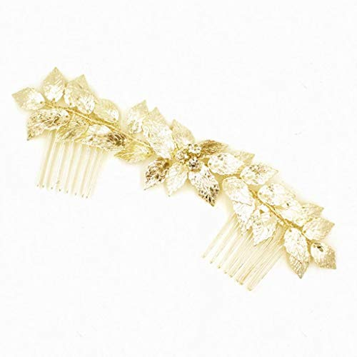 Vintage Gold Leaves Vine Side Hair Comb Slide Wedding Party Bridal Headpiece