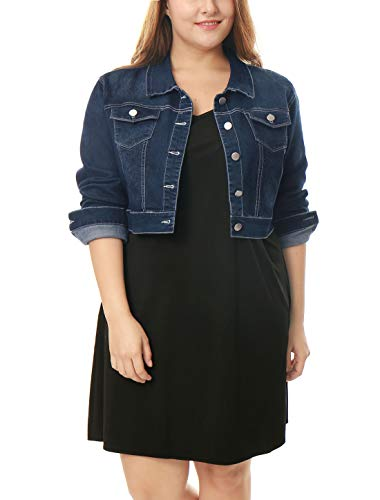 uxcell Women's Plus Size Button Closed Cropped Denim Jacket Dark Blue 1X