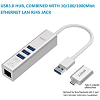 WNNT USB3.0 gigabit LAN HUB, 3ports USB3.0 A with BC1.2 data sync and charging, 10/100/1000Mbit giga-bit ethernet LAN RJ45, for Macbook AIR/laptop PC, fully in aluminum body complimenting to Macbook