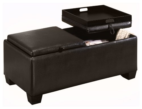 Homelegance Contemporary Storage Ottoman Bench with 2 Flip-Top Tray Inserts, Faux Dark Brown Leather