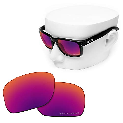 OOWLIT Replacement Lenses Compatible with Oakley Holbrook Sunglass Purple Red Combine8 Polarized