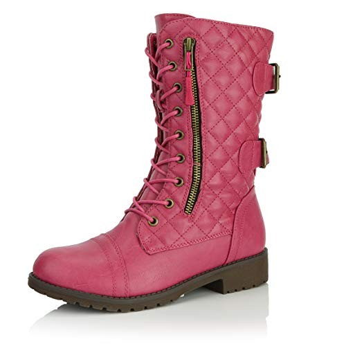 DailyShoes Women's Military Lace Up Buckle Combat Boots Mid Knee High Exclusive Quilted Credit Card Pocket, Quilted Hot Pink Pu, 8.5 B(M) US (Pink Riding Boots For Women)
