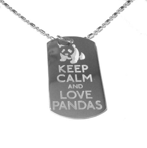 Keep Calm and Love Pandas Panda Bear Logo Symbol - Military Dog Tag, Luggage Tag Metal Chain (Dr Who Dog Costume)
