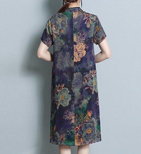 Print Dress Purple Style Chinese Women Coolred Sleeve Cheongsam Short Retro 5w648qp8