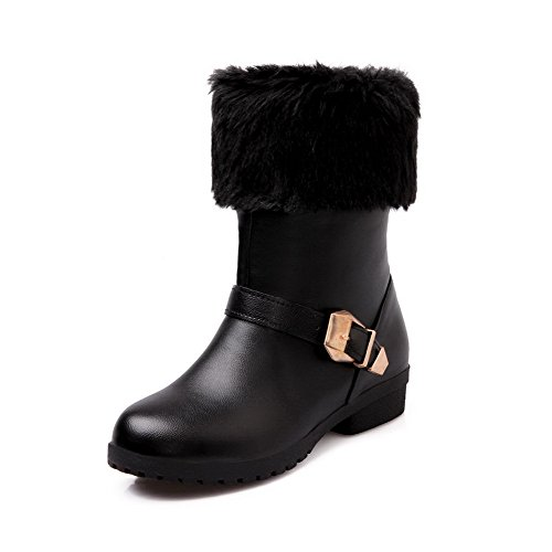Top WeiPoot Women's Material Boots Heels Round Solid Low Soft Low Black Toe Closed HFWHnrpz