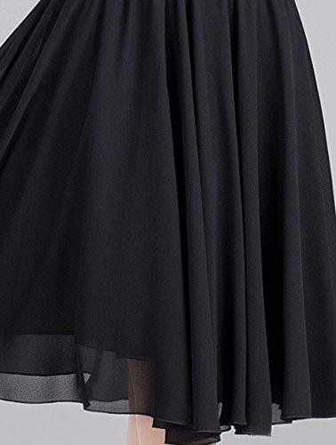 soie Noir Femmes Jupes plissees de longueur genou Mousseline au Helan qv67ztwxq