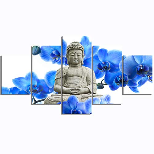 - Hierarchy Art Buddha 5 Panels Painting Wall Art Modern Giclee Prints Decor Floral Artwork on Blue and White Canvas for Living Room