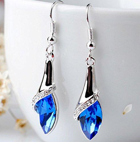 Usresu Fashion Dangle Earrings Blue Waterdrop Charm Girl White Gold Plated