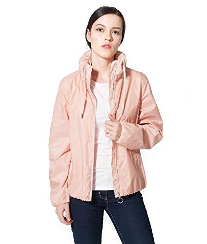 Rokka&Rolla Women's Lightweight Quick Dry Water Resistant Casual Hideaway Hooded Windbreaker Rain Jacket Pink Frost