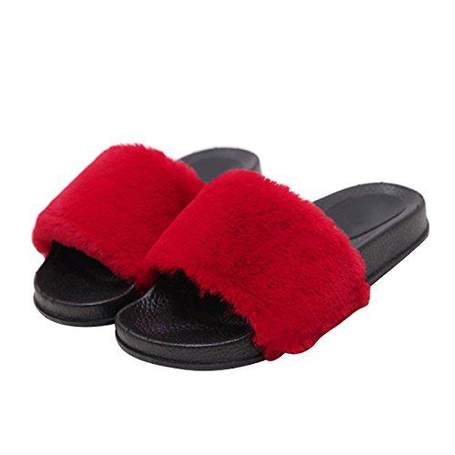Caro Tempo Pantofola In Pelliccia Ecologica Donna Infradito Morbido Infradito Su Sandali Piatti Più Il Formato Rosso