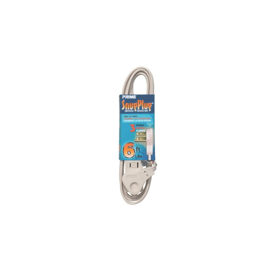 Prime Wire & Cable EC940606 6 Foot 16/3 SPT 2 3 Outlet Cord, Almond