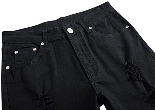 Elasticita Uomo Disegno Black Fit Stile Personalita Skinny Slim MJD001 MJD001 Lavaggio Denim Jeans Pantaloni Casuale Pants in qnpU4p