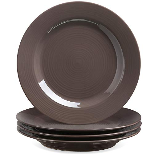 - Le Tauci 4 Piece 8 Inch Ceramic Salad Plate Set, Brown