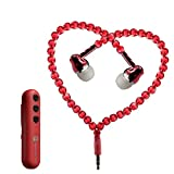Jewelry Bluetooth Headsets, Fashion Jewelry Pearl Wireless Earphones In-Ear Headphones Noise Cancelling w/Mic Connected to IPOD/IPHONE/Android/BlackBerry/MP3 Play Bluetooth 4.1+EDR (Red)