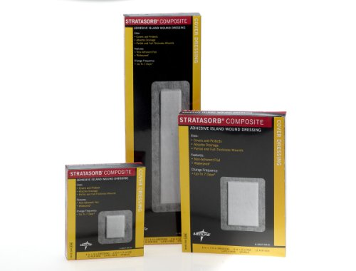 (Medline Stratasorb Composite Adhesive Island Wound Dressing - 4 x 4 Inches, 12 per Box, 1 Box)