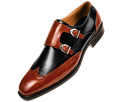 Sio Mens Smooth Faux Leather Double Monk Strap Formal Tuxedo Oxford Wingtip Dress Shoe Cognac/Black