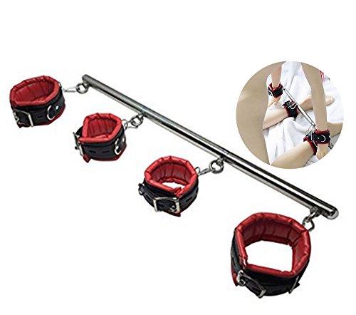 Bar Spreader Restraints Bondage Pavian Handcuffs Ankle Bracelets Detachable Stainless Steel (RED)