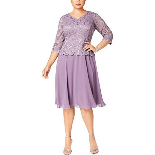 Alex Evenings Women's Plus-Size Tea Length V-Neck Lace Mock Dress, ICY Orchid, 16W