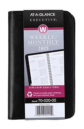AT-A-GLANCE Executive Weekly and Monthly Pocket-Size Appointment Book 2015, 3.25 x 6.25 Inch Page Size (7002005)
