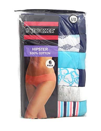 Joe Boxer Women's 6-Pack Mid Rise Hipster Panties (6, Teal/Navy) from Joe Boxer