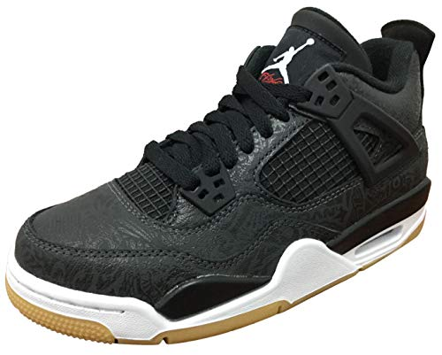 Air Jordan Retro 4 SE Black Laser Black/White-Gum Light Brown (GS) (6.5 M US Big Kid)
