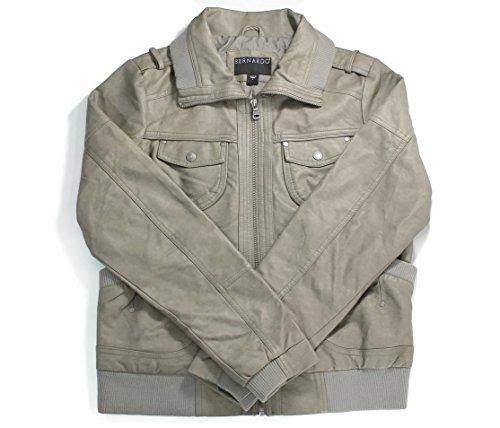 Bernardo Women's Faux Leather Bomber Jacket Grey XL