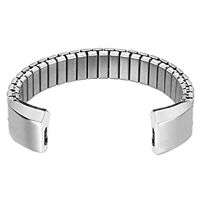 bayite Stainless Steel Stretching Bands for Fitbit Alta Silver Style G 5.5 - 6.2""