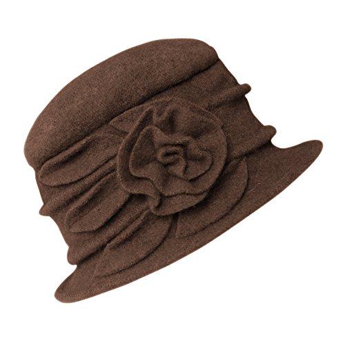 1956607793f Urban CoCo Women s Floral Trimmed Wool Blend Cloche Winter Hat ...