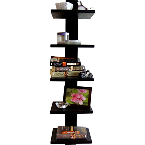 Simple Line Bracketless Narrow Column Wall Bookcase Ladder in Black