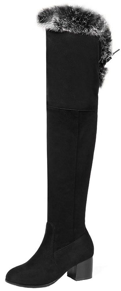 Mofri Womens Trendy Fluffy Faux Fur Block Medium Heel Round Toe Side Zipper Thigh High Snow Boots