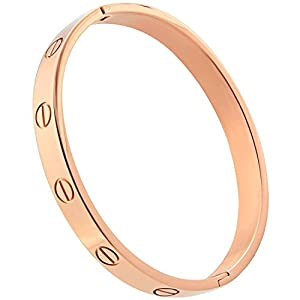 Plazar Mother's Day Gift Women's Gold Plated Cuff Bracelet Hinged Bangle for Women Oval Fits 6.5-7.5 Inch Wrists