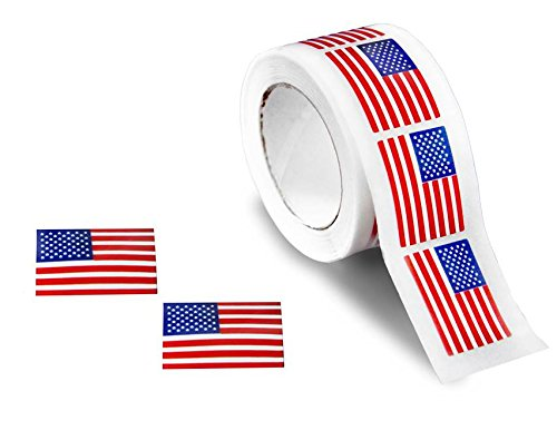 250 Small American Flag Stickers on a Roll - Patriotic Stickers (250 Stickers/Roll)