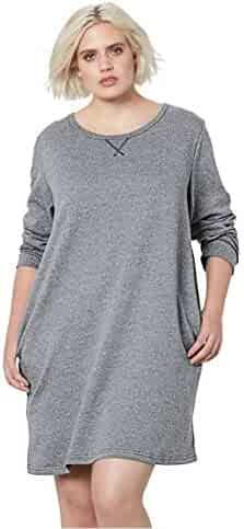 190c3687a25 Woman Within Plus Size French Terry Tunic Dress - Medium Heather Grey