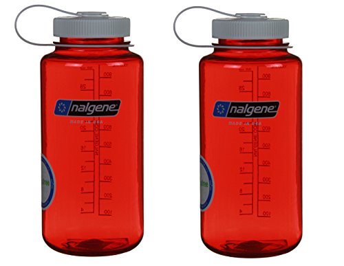 Nalgene 32oz Wide Mouth Everyday Water Bottle - 2 Pack (Red w/ White Lid) (Travel Nalgene Container)