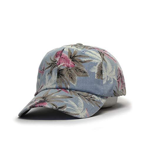 Premium Floral Hawaiian Cotton Twill Adjustable Snapback Baseball Caps (Denim Floral Light Blue)