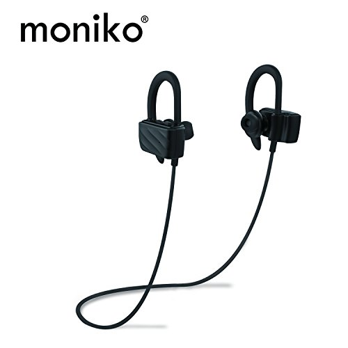 moniko Bluetooth Headphones Bluetooth 4.1 Best Wireless Earphones Sports Stereo Earbuds with Mic IPX4 Waterproof Headsets Noise Canceling Headsets Sweatproof Earbuds for IPhone Android Samsung(Black)