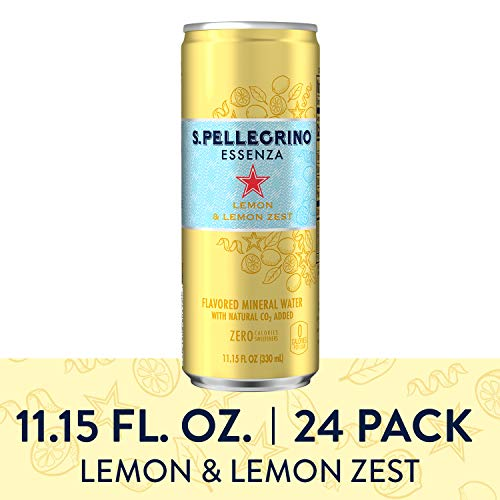 - S.Pellegrino Essenza Lemon & Lemon Zest Flavored Mineral Water, 11.15 fl oz. Cans (24 Count)