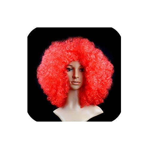 Short Peruke Afro Wigs Halloween Party Dress Funny Clown Wig Props Large Popcorn Party Hats Festival Synthetic Hair Wig,Red -